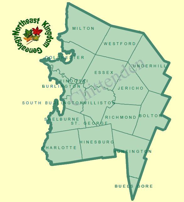 NEKG - Chittenden - Cemeteries of Vermont Chittenden County Map on